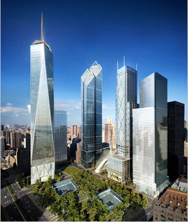 Daytime rendering of new Ground Zero towers